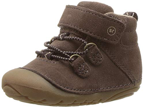 Stride Rite Boys Blake Baby High-Top Suede Sneaker Ankle Boot, Dark Brown, 3.5 XW US Infant