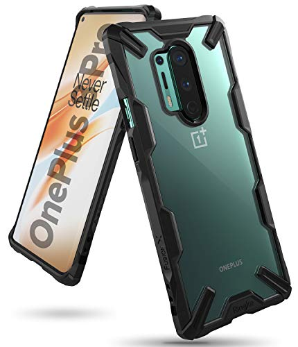 Ringke Fusion-X Kompatibel mit OnePlus 8 Pro Hülle Handyhülle Durchsichtig Rückseite mit Handyanhänger Loch im Rand - Schwarz