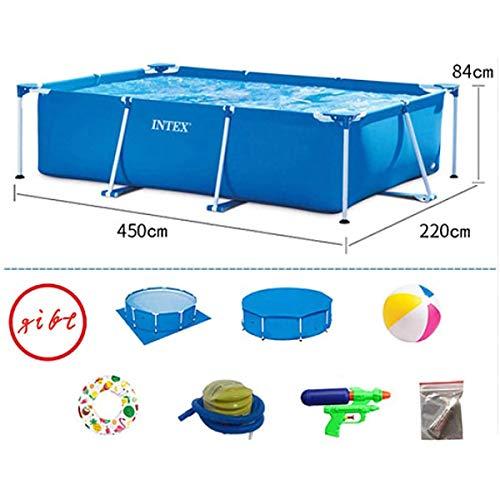 GXLO Rectángulo de Natación Azul de la Piscina Grande Tubo Soporte de Acero Retirable Niño Inicio Elevación Adult Mobile Fuerte Resistente a la Rotura del Material de PVC Adecuado,450x220x84cm