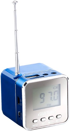 auvisio Musikwürfel: Mini-MP3-Station MPS-550.Cube mit integriertem Radio, blau, 8 Watt (MP3 Würfel)