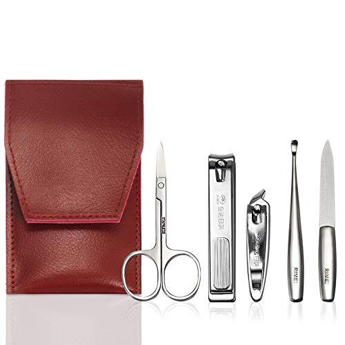FPXNBONE Kit Manucure Pedicure,Portable 5 pièces Nail Clipper, Nail Clipper Tool Set-Red Wine,Packs Kits d'Outils de Manucure et Pédicure