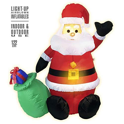 Widmann – uppblåsbar jultomte med påse, dekoration med ljus