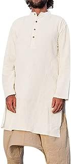Mens Linen Shirts Abaya Muslim Kaftan Vintage Loose Fit Splits Long Dress Long Sleeve Tops Henley Shirts