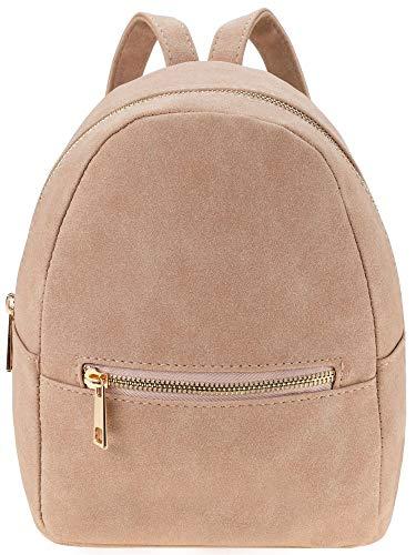 Ladies Mini Backpack School/Travel Suede Shoulder Bag Rucksack (Pink)