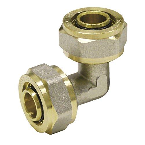 Pipetec Schraubfitting Winkel 26x3 mm 90° für Mehrschicht-Verbundrohr, DVGW, UBA-konform, bis max.100°C