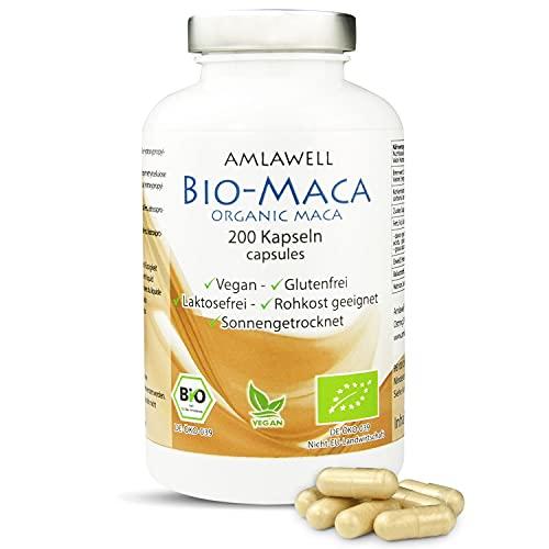 Amlawell Bio Maca Kapseln - Vegan - Peru - ohne Laktose und Gluten - aus deutscher Herstellung - 200 Kapseln in einer Packung - DE-ÖKO-039