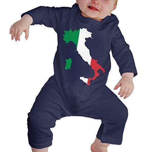 TJKK Grenouillère à manches longues pour bébé Motif carte de l'Italie - - 18 mois