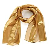 Scarfs for women | lightweight soft silky scarves | 60' long satin chiffon stripe solid color neckerchief, Gold