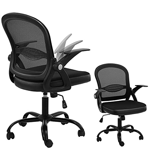 Office Home Chair Ergonomic Mid Back Mesh Computer Chair with Flip Up Arms Lumbar Support and Adjustable Height Swivel Tilt Function Desk Task Chair(Black)