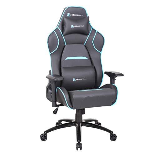 Newskill Valkyr - Silla gaming profesional con asiento microperforado para mejor sensación térmica (sistema de balanceo y reclinable 180 grados, reposabrazos 4D) - Color Azul, mediano