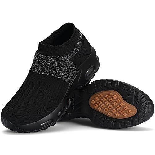 Mishansha Slip on Air Walkingschuhe Damen Bequeme Fitnessschuhe rutschfest Hypersoft Sneakers Leicht Plateau Loafer Schwarz C N,Gr.39 EU
