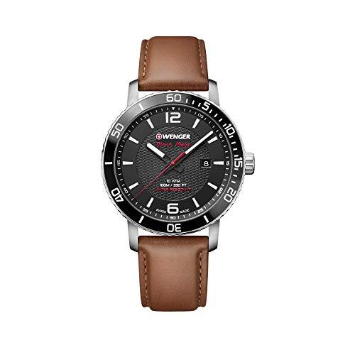Wenger Hombre Roadster Black Night - Reloj de Acero Inoxidable/Cuero de Cuarzo analógico de fabricación Suiza 01.1841.105