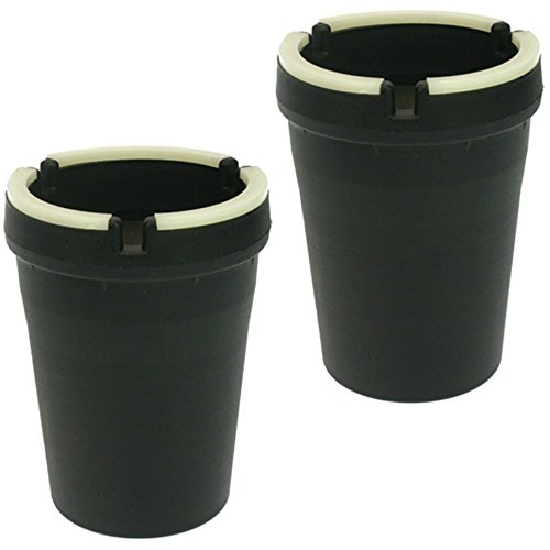 Lot de 2 cendriers anti-odeur, cendriers qui brillent dans le noir, avec bords fluorescents
