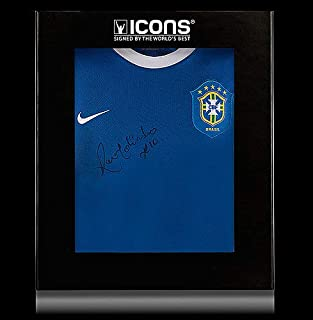 Ronaldinho Front Autographed Signed Brazil 2006 Away Shirt In Deluxe Packaging - Certified Authentic Soccer Signature