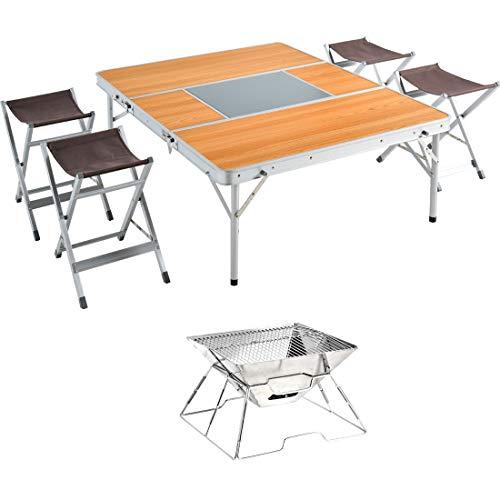 タンスのゲン レジャーテーブル + チェア 4脚 + BBQコンロ 6点 セットコンロ付 幅120cm 折り畳み式 軽量 アルミ 木目調 45000043 01