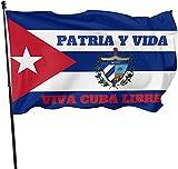 ZXZXC Bandera De Cuba 3 X 5 Pies-Nueva Impresión Doble Patria Y Vida Viva Cuba Libre Banderas Nacionales Cubanas con Ojales De Latón (36 Pulgadas x 60 Pulgadas (3x5 pies))