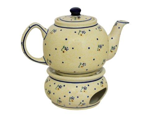 Original Bunzlauer Keramik Teekanne mit Stövchen 1.00 Liter im Dekor 111
