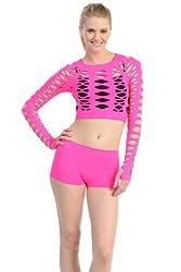 Kurve Dancewear Neon Fuchsia Ripped Long Sleeve Crop Top