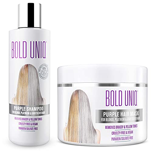 Bold Uniq Purple Hair Mask for Blonde, Platinum and Silver Hair, 200 ml & Purple, Silver Shampoo for Blonde Hair, Blue Hair Toner to Revitalise Blonde, Bleached and Highlighted Hair , 237ml