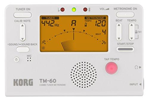 KORG チューナー メトロノーム 同時に使える TM-60 WH ホワイト 吹奏楽 ブラスバンド オーケストラ 個人練習 コンパクト 持ち運び