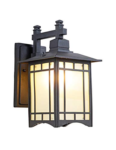 EERU Tokyo Pavilion Outdoor Wall Sconce,Exterior Wall Light Fixtures,Outdoor Indoor Wall Lantern Black Cast Aluminum with Frosted Glass for Garden Patio Pathway Staircase Balcony