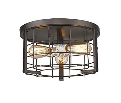 Odeums Industrial Flush Mount Ceiling Lights, 3-Lights Interior Exterior Close to Ceiling Flush Mount Lights Fixture, Antique Bronze Finish