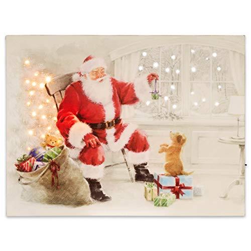 LED Wandbild Leinwandbild mit Beleuchtung 30x40 cm Weihnachtsmann Fotodruck Kunstdruck Leuchtbild Weihnachten Batterie Effekt-LED Nikolaus Xmas