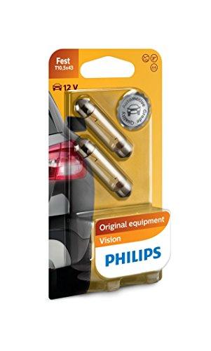 Philips 12866B2 Soffittenlampe C10W T10, 5 x 43, 2-er Blister