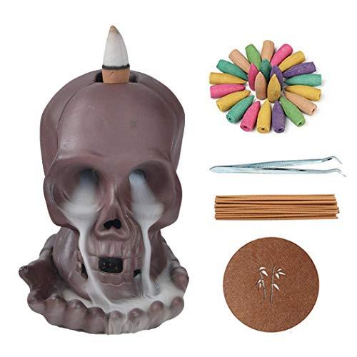 Quemador de incienso de reflujo, creativa decoración de calavera hecha a mano, con 20 conos de incienso de reflujo y 30 varillas de incienso en exquisita caja de regalo