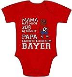 Shirtgeil Mama hat Mich süß gemacht Papa machte Mich zum Bayer Baby Body Kurzarm-Body 62/68 (3-6M) Rot