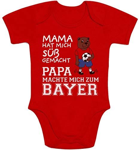 Shirtgeil Mama hat Mich süß gemacht Papa machte Mich zum Bayer Baby Body Kurzarm-Body 3-6 Monate Rot