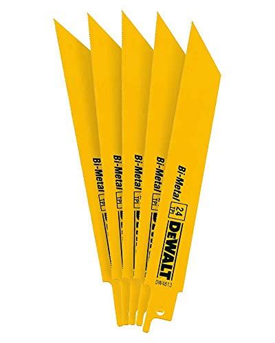 DEWALT Reciprocating Saw Blades, Straight Back, Bi-Metal, 6-Inch 24 TPI, 5-Pack (DW4813)