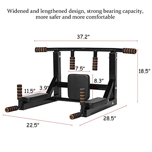 Product Image 9: Newan Pull Up Bar Wall Mounted Chin Up Bar Multi-Grip Full Body Strength Training Workout Dip Bar,Power Tower Set Support to 440Lbs