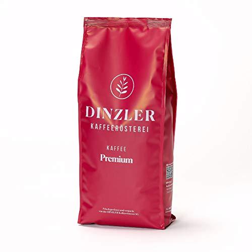 Dinzler Kaffeerösterei - Kaffee Premium - Kaffee | ganze Kaffeebohnen | kräftiger Frühstückskaffee | wenig Säure | 1kg ganze Bohne | Ideal geeignet für Vollautomaten | Hervorragendes Aroma