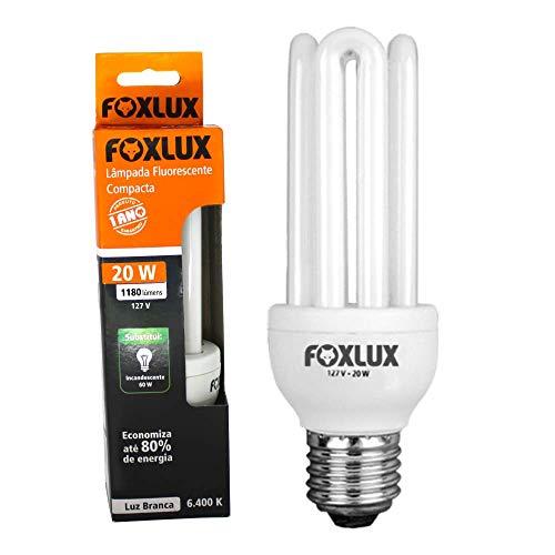 Lâmpada Fluorescente Compacta Foxlux – Tipo U – Luz Branca (6400K) – 20W – 127V – Base E-27
