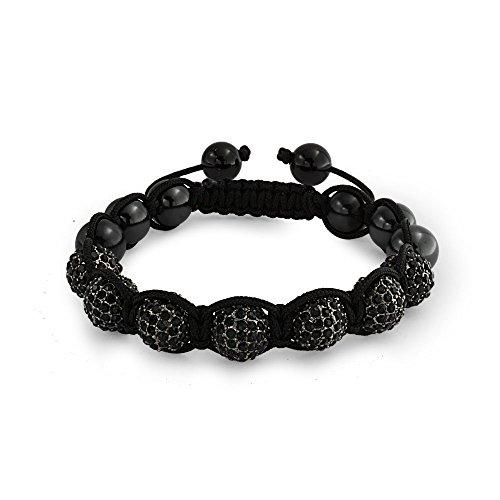 Bling Jewelry Negro Pave Crystal Ball Hematite Shamballa Pulsera Inspirada para Mujeres para Hombres Negro cordón Cuerda Ajustable