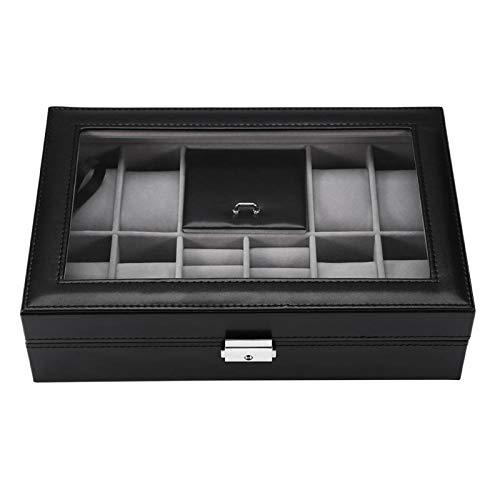 Vitrina de reloj, caja de almacenamiento de joyería, caja de reloj multifuncional 8 ranuras + 2 rejillas caja de exhibición de reloj organizador de caja de almacenamiento de joyería de anillo(#2)