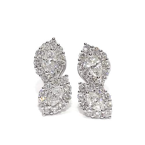 Impresionantes pendientes con diamantes de 2.24cts de peso en oro blanco de 18k. Cierre omega. 1.90cm de altos