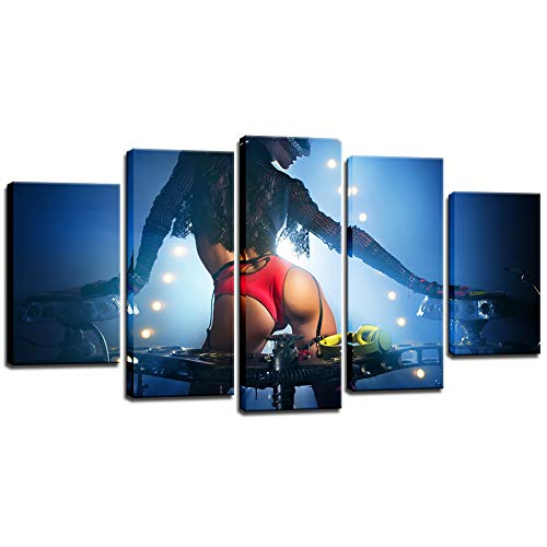 Biuteawal - 5 Piece Canvas Print Sexy Wall Art Painting Fashion DJ Girl in Red Underwear Picture Prints for Home Bedroom Pub Bar Decoration Woman Poster Framed Ready to Hang