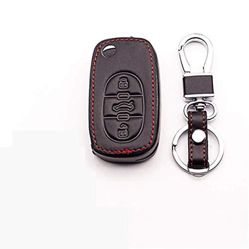 HUAQIANYU Llavero de coche de piel para coche con 3 botones, para Audi A2, A3, A4, A6, TT