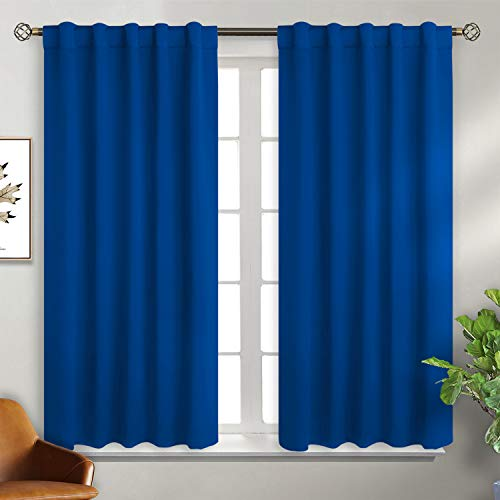 BGment Rod Pocket and Back Tab Blackout Curtains for Bedroom Thermal Insulated Room Darkening Curtains for Living Room, 2 Window Curtain Panels (W46 X L54 Inch, Royal Blue)