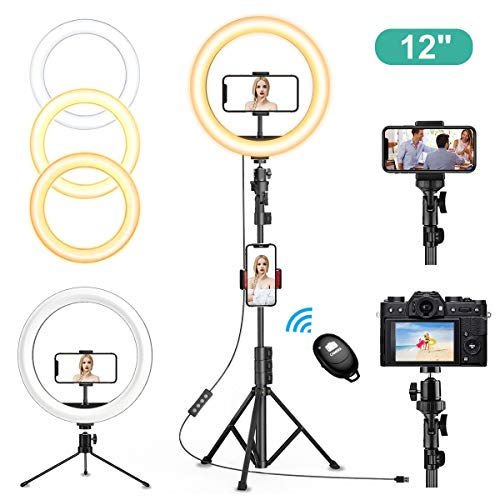 """12"""" inch Selfie Ring Light with Tripod Stand & Cell Phone Holder for Live Stream/Makeup, QI-EU Dimmable Led Camera Ringlight for YouTube TikTok/Photography Compatible for iPhone and Android Phone"""