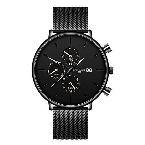 AMZSELLER Reloj Moda Relojes para Hombre Reloj de Cuarzo Casual Slim Malla de Acero Impermeable Sport Watch Reloj de Pulsera Casual (Color : Gold)
