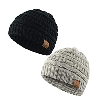 Zando Infant Beanies for Boys Winter Baby Caps Warm Soft Hats for Kids Children Black Light Grey One Size