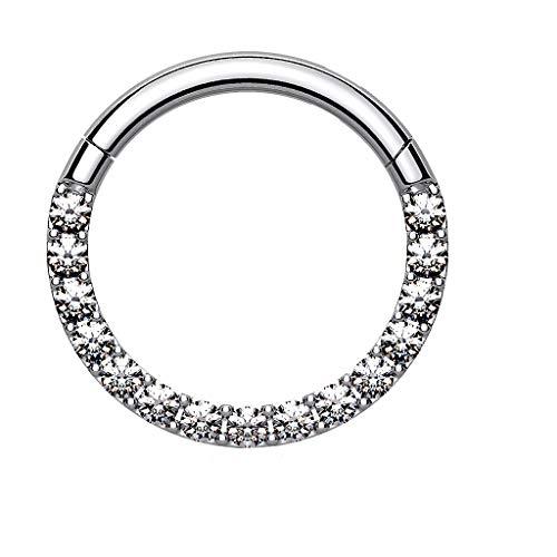 Piersando Segment Clicker Scharnier Ring Piercing mit Glitzer Kristall Septum Tragus Helix Nase Lippe Nasenring Ohr Knorpel Silber 1,2mm x 8mm