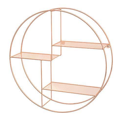 SONGMICS Wandregal aus Metall, rundes Schweberegal mit 3 Gitterablagen, mit 2 Schrauben, 55 x 12 cm (Ø x B), für Wohnzimmer und Flur, Industrie-Design, roségold LFS001A01