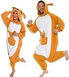 Silver Lilly Plush Kangaroo One Piece Animal Costume Unisex Adult Cosplay Pajamas (Brown, S)