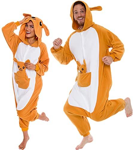 Silver Lilly Plush Kangaroo One Piece Animal Costume Unisex Adult Cosplay Pajamas (Brown, L)