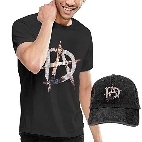 Thimd Camiseta de Manga Corta para Hombre,Gorra de béisbol Combinación Negro Dean Ambrose Logo T Shirts and Washed Denim Baseball Dad Hat Black