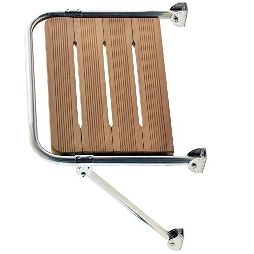 wellenshop Badeplattform Trittstufe Bootstreppe Iroko-Holz 460 x 400mm